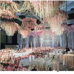 Wholesale Wholesale Silk Xmas Flowers - Elegant Artificial Hydangea Silk Flower Vine Home Wall Hanging Wisteria Garland 14 colors Available For Wedding Xmas Decoration