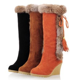 Wholesale Size Heel Wedges - High Quality Women Winter Snow Boots Ladies Wedge Heel Slip on Long Knee Boots Super Warm Women Shoes Size 34-42