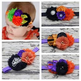 Wholesale Halloween Shabby - 2016 baby halloween headbands kids shabby chic flowers hair accessories baby girls chiffon flower crown hairbands rosette headband wholesale
