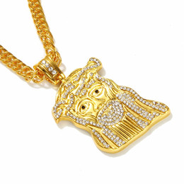Wholesale Statement Pieces Wholesale - Hip hop long necklace 24K gold plated High quality crystal jesus piece pendant Fashion Jewelry Statement for women & men