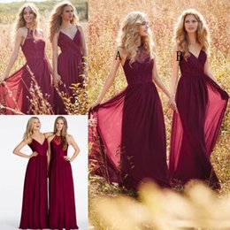Wholesale Outdoor Bridesmaid Dresses - Burgundy Chiffon Long Bridesmaid Dresses 2017 Jim Hjelm Lace Mixed Style Maid Of Honor Party Gowns Country Outdoor Skirts