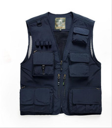 Wholesale Mens Multi Pocket Vest - Fall-Multifunctional Mens Cotton Army Green Khaki Military Vest Male Outdoor Mesh Multi-pocket Photography Vests Men Waistcoat Jacket