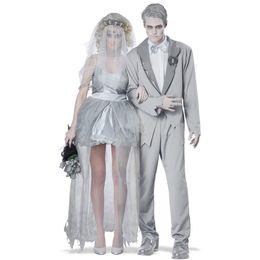 Wholesale Womens Devil Halloween Costumes - Adult Vampire Costume Womens Mens Ghost Bride bridegroom Zombie Devil Veil Cosplay Halloween Mummy Skirt Yarn Fancy Dress Party Dress Outfit