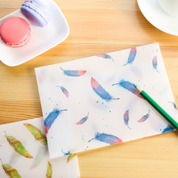 Wholesale Paper Vegetables - Wholesale- 8 pcs lot Creative Beautiful Colorful Feather Translucent Vegetable Parchment Paper Envelope Gift Envelope for Postcard