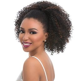 Wholesale Tight Kinky Curly Hair Virgin - Soft Indian Hair Puff Afro Kinky Curly Ponytail Extensions Pieces Clip in Tight Curls Fluffy 140g Brazilian Virgin Hair Drawstring Ponytail