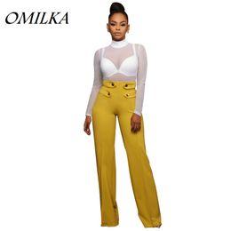 Wholesale White Casual Beach Pants - OMILKA Wide Leg Pants 2017 Hot Summer Women High Waist Beach Pant Casual Yellow White Black Blue Streetwear Club Pants S-XL