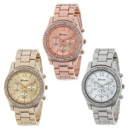 Wholesale Gold Plated Ladies Watches - Watch 2017 Faux Chronograph Quartz Plated Classic Round Ladies Women Crystals Watches Sanwony