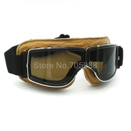 Wholesale Leather Motorcycle Goggles - Helmet Goggles With Smoking Lens Motorcycle Goggle Vintage Pilot Biker Leather For Motorcycle Bike ATV Goggle 5 Lens color