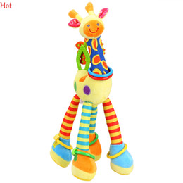 Wholesale Tooth Doll - 2016 New Design Plush Giraffe Car Hanging Bed Bell Infants Plush Bell Bb Tooth Gum Newborn Baby Teddy Kids Doll Rattles Toy Top Hot SV009631