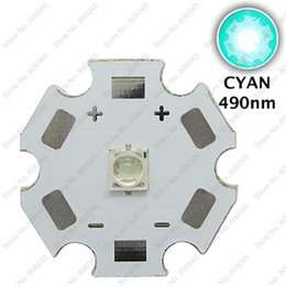 Wholesale High Power Led Pcb - Wholesale- 10pcs 3W 3535 490nm - 495nm Cyan Color Epileds High Power LED Light Emitter Diode on 20mm or 16mm Aluminum PCB Base