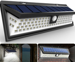 Wholesale Led For Street Lights - 54 LED Solar Motion Sensor Light Outdoor Wall Lamp Waterproof Solar Powered Light with 3 Intelligent Modes 3 LEDs Both Side for Gadern MYY