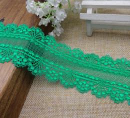 Wholesale Nylon Fabric Yard - (10 yards lot) DIY Acrylic Nylon lace knitted Green elastic lace trim fabric for bra high quality 5.5cm M66578