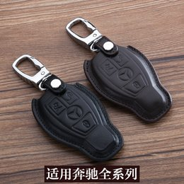 Wholesale Benz Key Leather - For Mercedes-Benz All of Series Car Keychain 100% Genuine Leather Car Key Case Cover 3 Buttons Car Key Chain Ring Auto Accessory