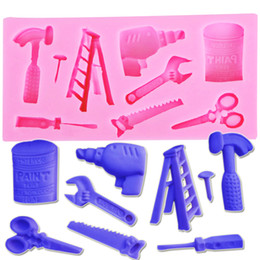 Wholesale Rubber Ladder - Hot FDA Good Quality Electric Power Ladder Scissors Wrench Shaped Silicone Mold Sugar Paste 3D Fondant Cake Decoration