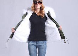 Wholesale Long Military Coats For Women - qltrade_1 White fur Mr & Mrs Furs Military rabbit Fur lined army parka Mr & Mrs itlay mini coats for cold winter weather