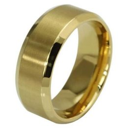 Wholesale Gold Comfort Fit Wedding Band - Gold 500pcs Top Quality Comfort fit 8mm Band Stainless Steel Wedding Rings Men Women Classic Fashion Rings Wholesale Jewelry Lot