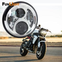 """Wholesale Universal Chrome Headlight - 7"""" Round LED Headlight 60W High Low Beam For harley Motorcycle Projector Daymaker 7 inch Led headlamp- Chrome"""