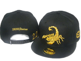 Wholesale D9 Snapbacks - 2016 Hot D9 Reserve embroidered gold scorpion Black Snapback Hats Top Brand Hip Hop Street Hats Snapbacks Sports Caps For Men Women DD