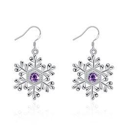 Wholesale Earrings Snowflake Long - Fashion Ladies Earrings with Stone 4CM Long Crystal Earrings For Women Silver Snowflake Earrings Christmas Gift