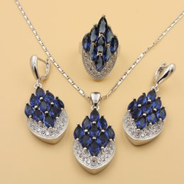 Wholesale Emerald 18k Gold - Blue Sapphire Muitl Colour White Topaz 925 Sterling Silver Jewelry Sets For Women Necklace Pendant Earrings Size 7 8 9 Rings Free Gift Box