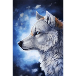 Wholesale Rooms Painted Black - Wolf DIY Gifts Diamond Painting 5D Diamond Mosaic Cross Stitch Embroidery Home Wall Decor Handmade(Free Shipping)