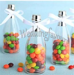 Wholesale champagne party favors - FREE SHIPPING 24PCS Clear Plastic Champagne Bottle Favors with RIBBON Party Candy Holder Bridal Shower Wedding Gift Anniversary Supplies
