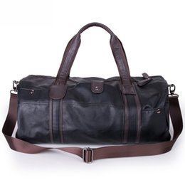 Wholesale Duffle Gym - Wholesale-2016 3 Colors Men Large Leather Duffle Gym Travel Bags Luggage Handbag Shoulder Bag High-capacity Cylinder Casual Wholesale