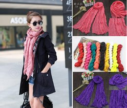 Wholesale Silk Linen Shawl - New fashion Women Voile Pure Scarf Drape Cotton&Linen Candy Color Shawl Wrap Beach Silk Scarves HeadScarf Pashmina