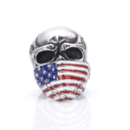 Wholesale Man Steel Cast - 2016 Punk Motorcycle Club Ring 316L Stainless Steel Casting American Flag Skeleton Skull Antique Gothic Men Rings