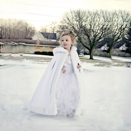 Wholesale Cape Jackets For Kids - 2016 Hooded Girls Cape Ivory White Wedding Cloaks Faux Fur Jacket For Winter Kid Flower Girl Children Outerwear & Coats