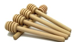 Wholesale Wood Stirring Sticks - Wooden Honey stick Dippers honey stir Honey rod Honey dipper 8 cm kitchen tool Wedding Favors Spoons New Arrive Gift Stick Natural Beech
