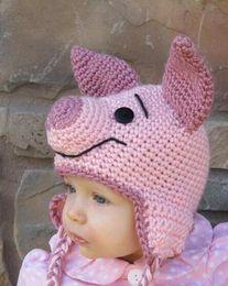 Wholesale Newborn Pig Hat - Crochet Pink Pig Hat Children Newborn Infant Toddler Knitted Hat Winter Boys Girls Kids Beanie Earflaps Hallowmas Christmas Caps Photo props
