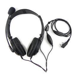 Wholesale Hyt Headset - 2 PIN Folding Headphone Headset Mic for KENWOOD QUANSHENG PUXING WOUXUN HYT TYT BAOFENG UV5R 888S TH D7 F6 22 Radio
