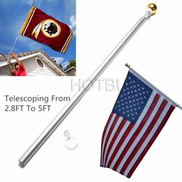Wholesale Telescoping Poles Wholesale - 5Ft Telescoping 86cm-155cm Tall Hand Held Flag Pole Kit High Intensity Aviation Aluminum Alloy Tall Telescoping Flagpole #4103