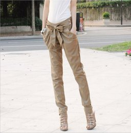 Wholesale Nice Women Pants - Nice New Fashion Spring Autumn Casual Long Pencil Pants OL Ladies Stright Harem Pants Wild Bow Knot Solid Leggings Skinny Trouses