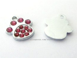 Wholesale Dog Collar Charm Hanging - 50pcs Mix Color Foot Print   Paw Hang Charms Fit Pet Dog Cat Tag Collar Wristband