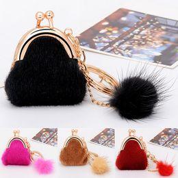 Wholesale Plush Rabbit Small - Plush Rabbit Fur Ball Exquisite Small Bag Car Keychain Pendant Handbag Backpack Charm Pom Pom Keyring Key Chain B783Q