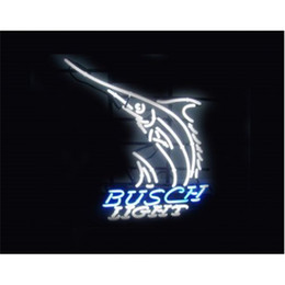 Wholesale Lighted Bar Signs Busch - NEON SIGN For Busch Light Custom Store Lighting Display Beer Bar Pub Club Lights Signs Shop Decorate Real Glass Tube Bulbs