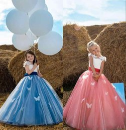 Wholesale Girls Dresses For Events - Beauty and the Beast Belle Inspired Flower Girls Dresses 2018 Cap Sleeves Butterfly Little Girls Birthday Dress for Formal Event Party