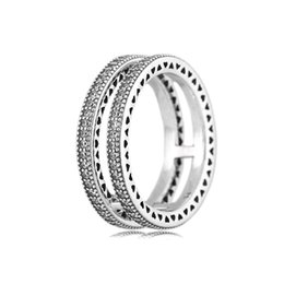 Wholesale Real Silver Finger Ring - Autumn New Style Classic Real Fit pandora 925 Sterling Silver Double Hearts Ring Love stackable Finger Wedding Jewelry For Women Gift