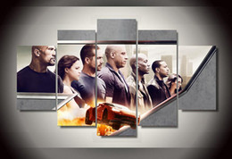 Wholesale Fast Poster Printing - 5 Piece No Framed HD Printed fast and furious 7 movie picture Painting wall art room decor print poster picture canvas art Free shipping