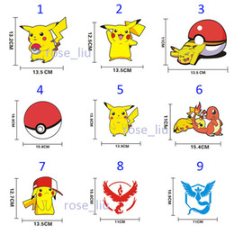 Wholesale Team Wall - 27 Style Poke go team Sticker Instinc Mystic Valor Instinct camp Logo wall car pocket monster Pikachu Decal film iphone Sticker B