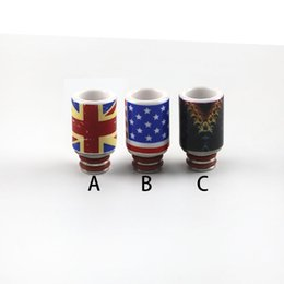 Wholesale Ego Patterned - Drip Tips For E Cigs 510 Ceramic Drip Tip With US Flag Pattern For All EGO 510 Atomizers Mouthpiece Wide Bore Drip Tips