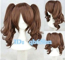 Wholesale Long Cosplay Wigs Free Shipping - Free shipping New High Quality Fashion Picture Indian Mongolian wig>>> Pop Lolita Medium Long Brown Two Ponytail Cosplay Wigs Cos Wigs