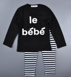 Wholesale Bebe T Shirts - Children Outfits Set Spring Autumn baby boy girl clothes set letters le bebe long sleeve t-shirt+stripe Trousers Kids Clothing 12M-4T gift