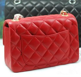 Wholesale Quilted Threads - Free Shipping New Luxury Brand Classical Lady Bags with Gold Chain Shoulder bag Fashion Women Mini Flap Messenger Bag Red Quilted Handbag