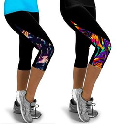 Wholesale Gold High Waist Leggings - 2017 Women Leggings High Waist Fitness Sport Printed Pants Stretch Cropped Sport Leggings Casual Miti-Colors Only the Leggings