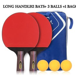 Wholesale Pong Case - Table Tennis Racket Professional Horizontal Double Grip Ping Pong Case Bag Ball Set Bat Training Competition Sport Entertainment