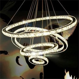 Wholesale Crystal Ring Chandelier Light - Modern LED Crystal Chandelier Lighting luxurious K9 Transparent Crystal Round 4 Rings 20CM Plus 40CM Plus 60CM Plus 80CM Lamps Fixtures