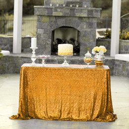 2019 mantel japonés La alta calidad libre rectangular 48 * 72inch lentejuelas de oro Cubierta de mesa Mantel Por banquete de la boda de la decoración del partido